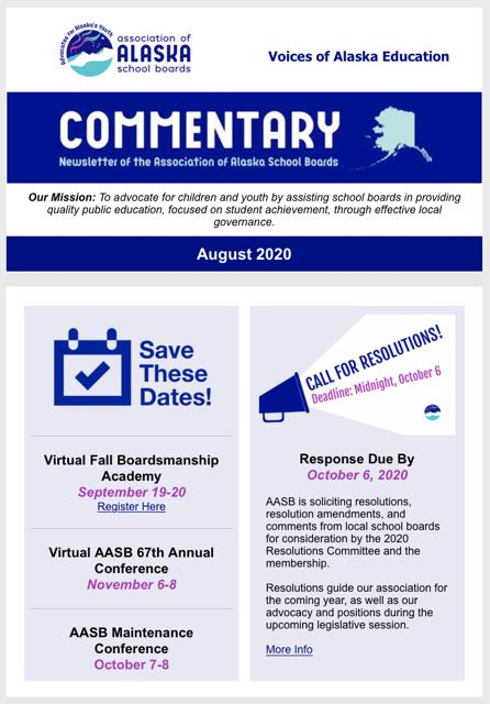Cover of August 2020 issue of Commentary newsletter