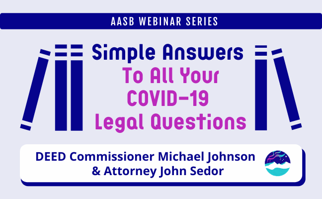 Simple Answers to All Your COVID-19 Legal Questions webinar graphic.