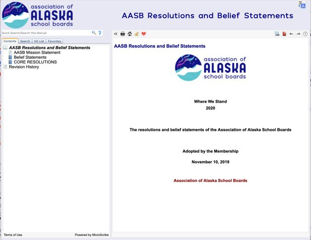Screenshot of Microscribe website showing table of contents for AASB Resolutions and Belief Statements