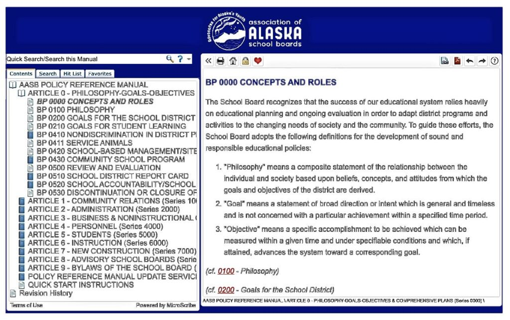 Screen shot of Policy Online web page.
